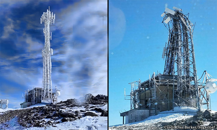 Before and after views of a tower on a mountain where the top of the tower collapsed during a high wind storm.